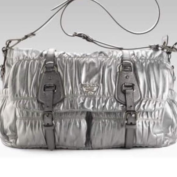 Prada Bags   Metallic Gaufre Messenger Bag   Poshmark 0feccde8b7
